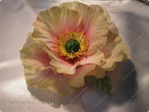 """Добрый день, дорогие мастерицы ! Хотела бы поделиться результатами моего нового увлечения. Представляю вашему вниманию цветы из шелка """"Маки"""". Два из них необычной окраски, но очень интересно выглядят и я думаю будут прекрасным дополнением к наряду. Этот прекрасный цветок был выполнен по МК замечательной мастрерицы своего дела Анны Ушаковой, за что ей огромное спасибо.   фото 3"""