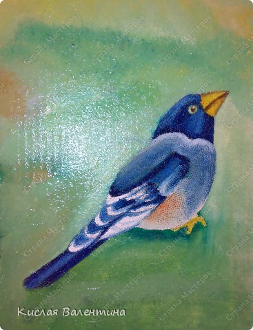 птичка-синичка,выложена из пшена,расписана маслянными красками) фото 1