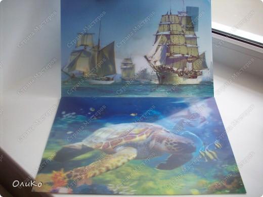 Неделю назад нашла в магазине вот такие картинки - формат А4.... Эффект двух картин, т.е. смотришь под одним углом - плывет черепаха, под другим углом - семья дельфинов.... Мне так они понравились, что я решила задекорировать одну из стен на балконе фото 1