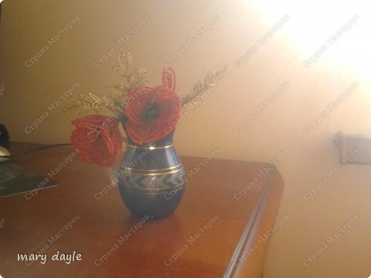 Поделка изделие Бисероплетение цветы из бисера Бисер Нитки Проволока.