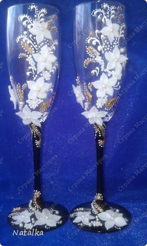 Свадебные фужеры бисер пластика фото 1