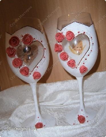 Фужеры для свадьбы. Идея как обычно стянута! Спасибо Валентинке Порчелли - безумно люблю ваши работы (хотя мне до вас, как до Австралии!!!!)  фото 2