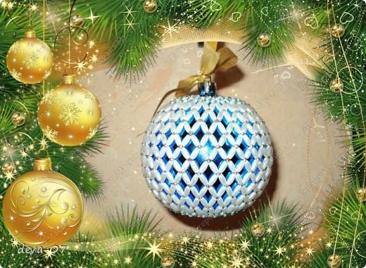 вот такой новогодний шар я обвязала бусинами - рисинами и бисером. фото 1