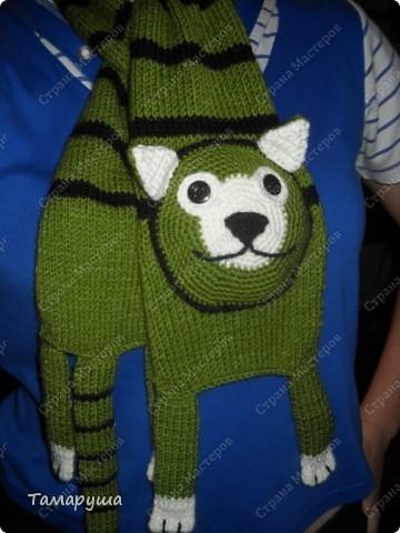 К зеленому зимнему костюму сына связала вот такой шарфик. фото 2