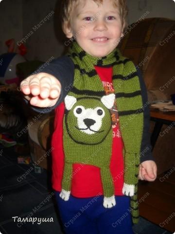 К зеленому зимнему костюму сына связала вот такой шарфик. фото 3