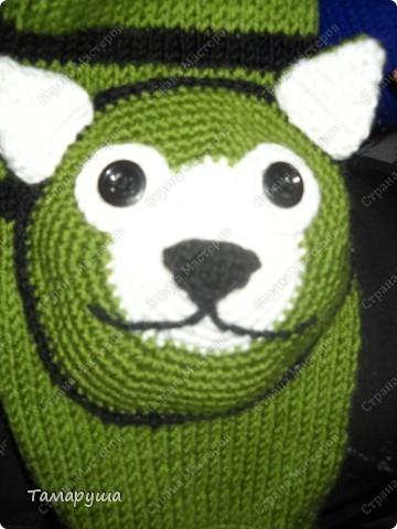 К зеленому зимнему костюму сына связала вот такой шарфик. фото 5