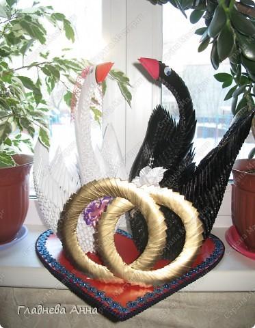 Свадебные лебеди. Работа выполнялась на заказ в подарок молодоженам. фото 5