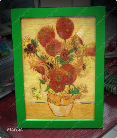 Рисование пластилином(Ван Гог, Подсолнухи). фото 1
