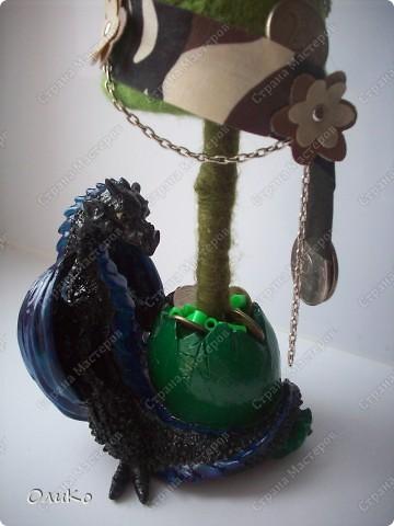 Елка сваляна из 100% шерсти сухим способом, декорирована лентой, настоящими монетами и фальшивыми купюрами Высота 41,3см с подставкой 41,8см фото 10