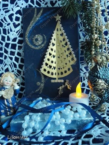 Всем привет и масса наилучших предновогодних пожеланий. Сегодня я приглашаю вас в синюю новогоднюю ночь. Открываю серию открыток «Цвет новогодней ночи» В проекте пока красная, серебряная, лиловая, ванильная. Не знаю, смогу ли воплотить все в жизнь, но вот проект существует. Итак, принимайте. Синяя новогодняя ночь. фото 1