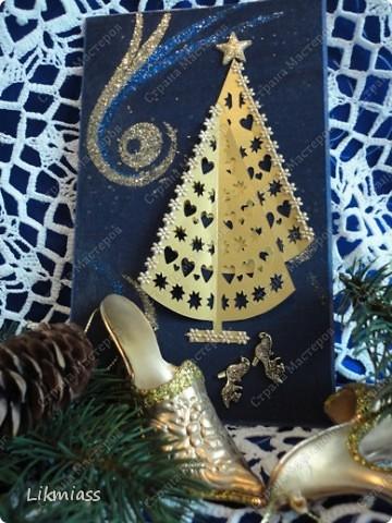 Всем привет и масса наилучших предновогодних пожеланий. Сегодня я приглашаю вас в синюю новогоднюю ночь. Открываю серию открыток «Цвет новогодней ночи» В проекте пока красная, серебряная, лиловая, ванильная. Не знаю, смогу ли воплотить все в жизнь, но вот проект существует. Итак, принимайте. Синяя новогодняя ночь. фото 2