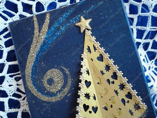 Всем привет и масса наилучших предновогодних пожеланий. Сегодня я приглашаю вас в синюю новогоднюю ночь. Открываю серию открыток «Цвет новогодней ночи» В проекте пока красная, серебряная, лиловая, ванильная. Не знаю, смогу ли воплотить все в жизнь, но вот проект существует. Итак, принимайте. Синяя новогодняя ночь. фото 3