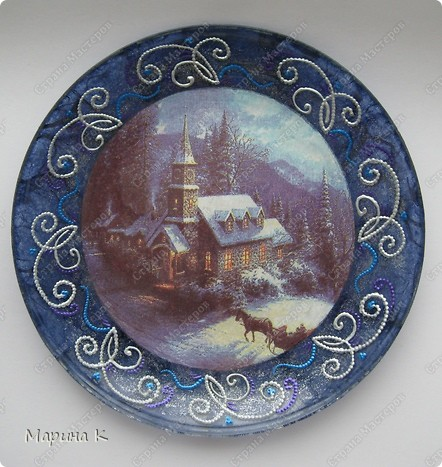 Обратный декупаж, серебряный глиттер, акриловая краска фото 2