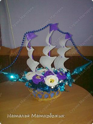 Кораблик с белыми парусами.