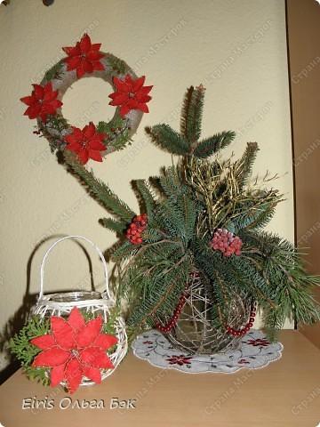 Уже везде ощущается Дух Рождества... И все мы  погружаемся в воспоминания детства и не смотря ни на что чувствуем, где-то в глубине души, чувство детской радости от ожидания какого-то  новогоднего чуда... Запах елки и апельсин... Это чувство всегда возвращается к нам раз в год и возвращает нас, в какой-то мере, в мир безоблачного детства и радости. Наверно поэтому в этом году я так  ответственно подошла к подготовке к этим милым  праздникам. Очень захотелось вернутся  в свое детство, когда с мамой готовились к Новому году заранее. Когда делали украшения все  вместе и самое главное- не в последний момент.Так что и я стала готовится к этому еще с сентября. Покупая  постепенно  материалы, краски и  неся из леса все, что понравится. Шишки, ветки, коряги и тому подобное. С 27 ноября в Германии наступил 1 Адвент. Это значит, что уже официально везде горят с этого дня  новогодние лампы в окнах, украшены елки во дворах. Везде горят свечи, как один из главных атрибутов Рождества...Везде букеты из еловых и сосновых веток... Меня это тоже не обошло стороной...Единственное, что делают позже, так это украшают рождественскую елку дома только накануне рождества 24 декабря. Рождественские звезды-цветы  сделаны из фетра.Так же использовала  веточки от настоящей туи. Мне показалось, что они очень гармонично смотрятся. Цветы к лампе крепила на двух сторонний скотч, чтобы после праздников можно было все безболезненно снять. Веточки туи прикрепила при помощи булавочек. Ветки срезаны более 2-х недель назад, но все такие же зеленые.... фото 2