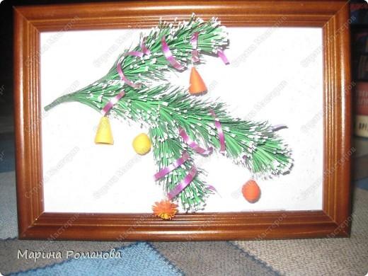 Сегодня я училась делать новогоднюю веточку по МК Ларисы Засадной, за что ей огромное спасибо! фото 2