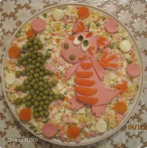 Оливье - самый новогодний салат. А чтобы он соответствовал наступающему году надо бы к нему дракончика сделать, да и ёлочку заодно! фото 1