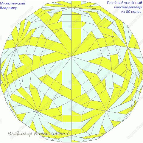 Комбинированный ажурно-плетёный ромбоусечённый икосододекаэдр с внутренним прохождением полос. 30 модулей. фото 4