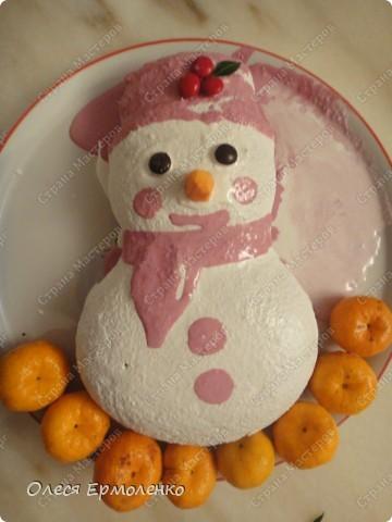 Девочки всем приветик! Вот такой снеговичёк у меня сегодня испёкся к столу,( доча оценила). Была в восторге!  Вместо мандарин я украшала зефирками, но сегодня к сожалению у меня их не оказалось, зефир как сугробики. Тесто можно взять как на кекс,но я сегодня делала с смородиновым вареньем. фото 1