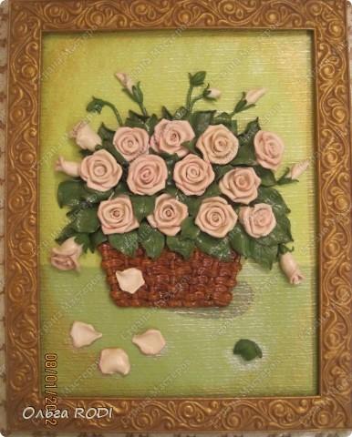 """Доброго времени суток, дорогие мои! Наконец-то закончила свои цветочные пано. Делала на заказ 2 пано в одном стиле. Результат моего долгодела предлагаю оценить вам. Первое пано - """"Розы в корзине"""". фото 7"""