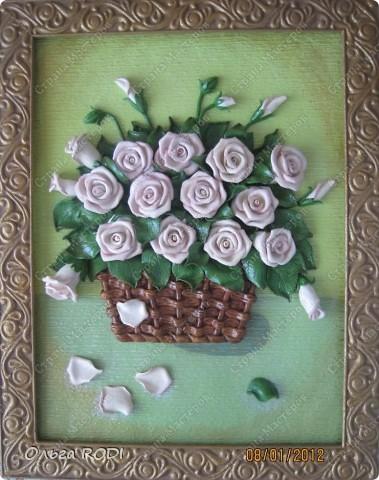 """Доброго времени суток, дорогие мои! Наконец-то закончила свои цветочные пано. Делала на заказ 2 пано в одном стиле. Результат моего долгодела предлагаю оценить вам. Первое пано - """"Розы в корзине"""". фото 1"""