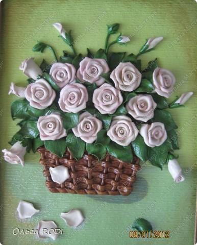 """Доброго времени суток, дорогие мои! Наконец-то закончила свои цветочные пано. Делала на заказ 2 пано в одном стиле. Результат моего долгодела предлагаю оценить вам. Первое пано - """"Розы в корзине"""". фото 2"""