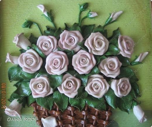 """Доброго времени суток, дорогие мои! Наконец-то закончила свои цветочные пано. Делала на заказ 2 пано в одном стиле. Результат моего долгодела предлагаю оценить вам. Первое пано - """"Розы в корзине"""". фото 3"""