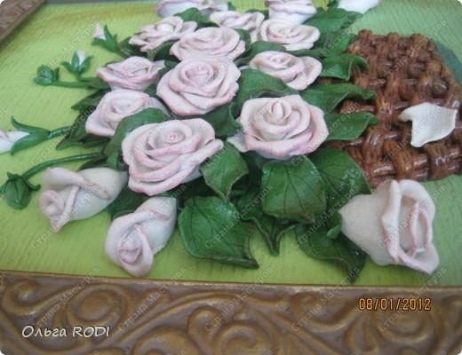 """Доброго времени суток, дорогие мои! Наконец-то закончила свои цветочные пано. Делала на заказ 2 пано в одном стиле. Результат моего долгодела предлагаю оценить вам. Первое пано - """"Розы в корзине"""". фото 5"""