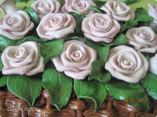 """Доброго времени суток, дорогие мои! Наконец-то закончила свои цветочные пано. Делала на заказ 2 пано в одном стиле. Результат моего долгодела предлагаю оценить вам. Первое пано - """"Розы в корзине"""". фото 6"""