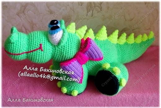 Длинна Крокодила 62 см. Пряжа акриловая.  фото 4