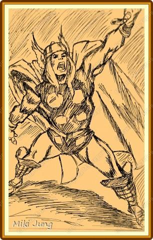 Супер герой молот картон перо