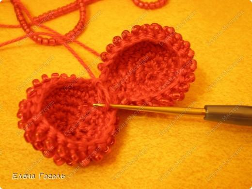Мастер-класс Презент от Голубки Валентинов день Вязание крючком Бисерное сердце МК Бисер Пряжа фото 5.