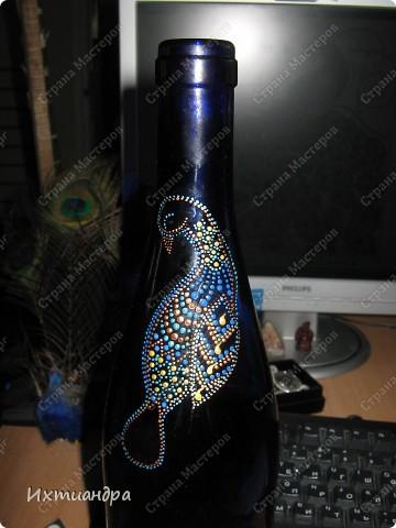 Вот такой необыкновенный павлин поселился у меня на бутыли... фото 4