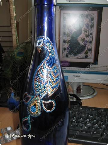 Вот такой необыкновенный павлин поселился у меня на бутыли... фото 5
