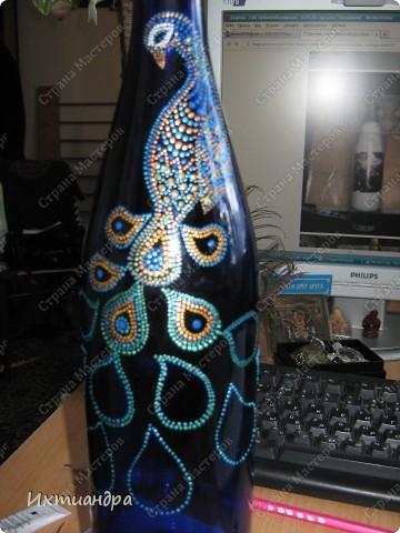 Вот такой необыкновенный павлин поселился у меня на бутыли... фото 6