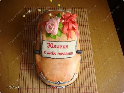 Всем привет!!! вот торт для 20 летней девушки и кстати такую точно ей подарили настоящую машину )))) представляете сколько у нее радости ))) настоящая и сладкая )))) фото 2