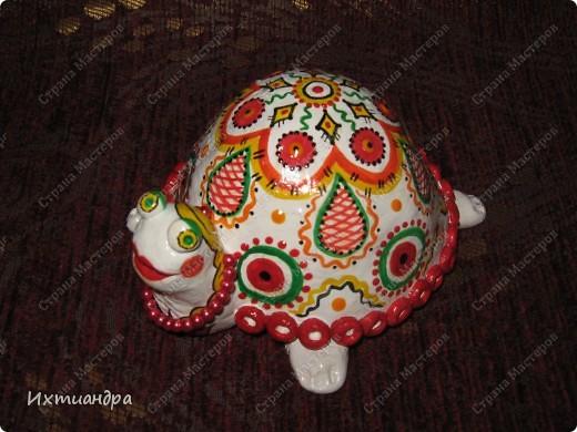 Я коллекционирую черепашек и захотелось сделать такую.... такую.... Ну чтобы ни у кого такой не было! :-)) И вот, представляю Вам черепашку Дуняшу - в стиле дымковской игрушки. Получилась нарядная, румяная и с косичкой - настоящая русская красавица! )) фото 3