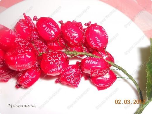 Вот нарисовались еще такие маленькие пустячки у меня из конфеток: смородина, вишенки, и цветочки. Но цветочки уже не мои, а дочерей, делали в подарок учительнице на 8 марта. Белый делала Анюта, ей 13 лет, а поменьше, напоминающий флаг России, сделан из чупа-чупсика Машенькой 6-ти лет. фото 4