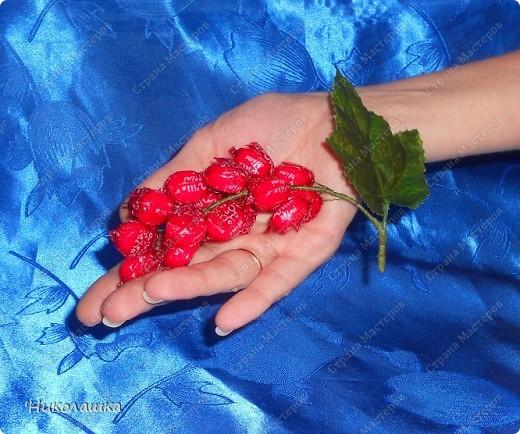 Вот нарисовались еще такие маленькие пустячки у меня из конфеток: смородина, вишенки, и цветочки. Но цветочки уже не мои, а дочерей, делали в подарок учительнице на 8 марта. Белый делала Анюта, ей 13 лет, а поменьше, напоминающий флаг России, сделан из чупа-чупсика Машенькой 6-ти лет. фото 3