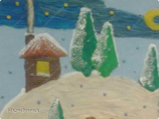 """Нам дали в саду задание - нарисовать картину на тему """"Хозяин снегов"""". Мы подошли к этому заданию коллективно. Маме принадлежала идея сделать картину из пластилина. Папа придумал концепцию картины, набросал эскиз и сделал нам панно из картонной коробки. Пришлось пожертвовать новtymrjq коробкой из-под зимних сапог мамы. Ну. чего не сделаешь для искусства))) Вместе с Егоркой мы трудились над работой долгих три дня. Для самых мелких деталей Егорушкины пальчики оказались самыми точными.  фото 1"""