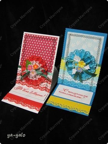 Ещё две открытки к 8 Марта с бумажными кружевными гармошками фото 1