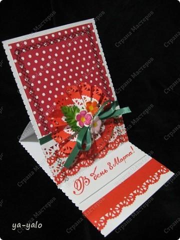 Ещё две открытки к 8 Марта с бумажными кружевными гармошками фото 6