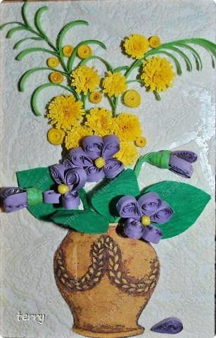Прежде всего хочется поздравить всех жительниц Страны Мастеров с праздником!!! А вот и мои обещанные мини-картинки, сделанные как раз к 8 марта. Сегодня были подарены учителям. Надеюсь, что и Вам они подарят немножко радости и напомнят о приближении весны... фото 4
