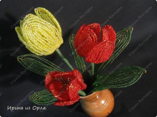 Для своей любимой мамочки торопилась сплести букет тюльпанов. УСПЕЛА! Она была в восторге от такого подарка!  фото 3