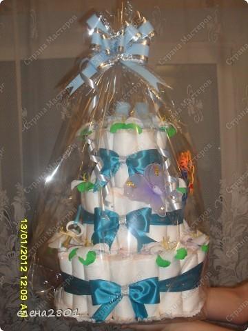 Вот такие торты из памперсов заказали на рождение мальчика... фото 1