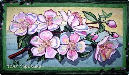 Картина панно рисунок Цвет вишни Картина Пейп-арт Салфетки фото 1