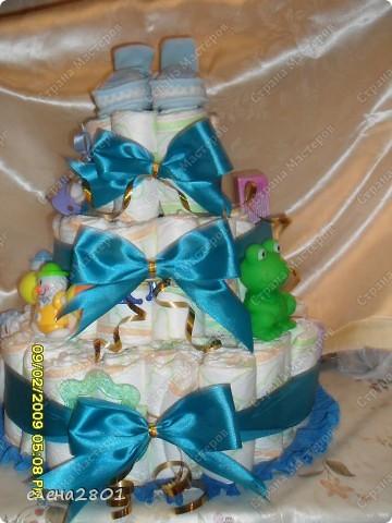 Вот такие торты из памперсов заказали на рождение мальчика... фото 5