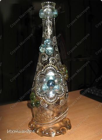 Декор предметов Мастер-класс Роспись Хрустальная сказка Бутылки стеклянные Клей Краска Стекло фото 1