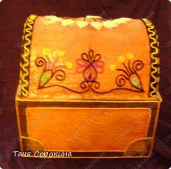 Наконец-то у меня появилась настоящая сокровищница! Очень хотелось чего-то шикарного, с золотом и драгоценными камнями, и потому, конечно, выбрана Индия.   А так, как ПЕЙП-АРТ - это техника - имитатор, то я превращаю простой бросовый материал (картонную коробку) в деревянный сундук с металлической окантовкой. фото 7