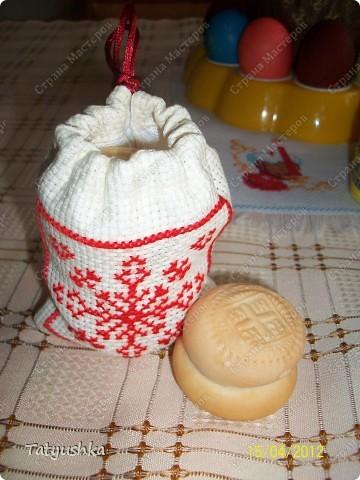 Мешочки для просфор сшиты из канвы и ткани, вышиты крестиком и лентами. фото 11
